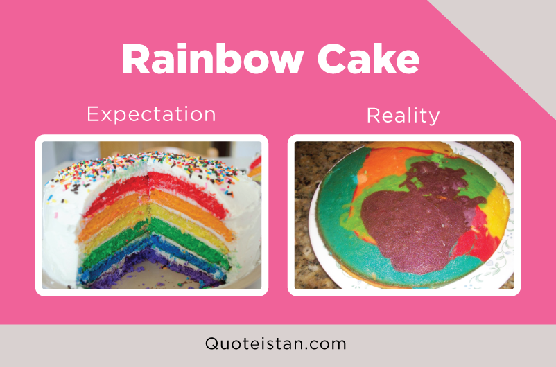 Expectation Vs Reality: Rainbow Cake