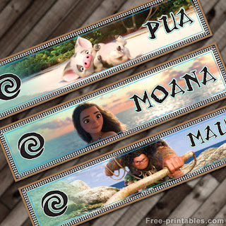 Moana water bottle labels