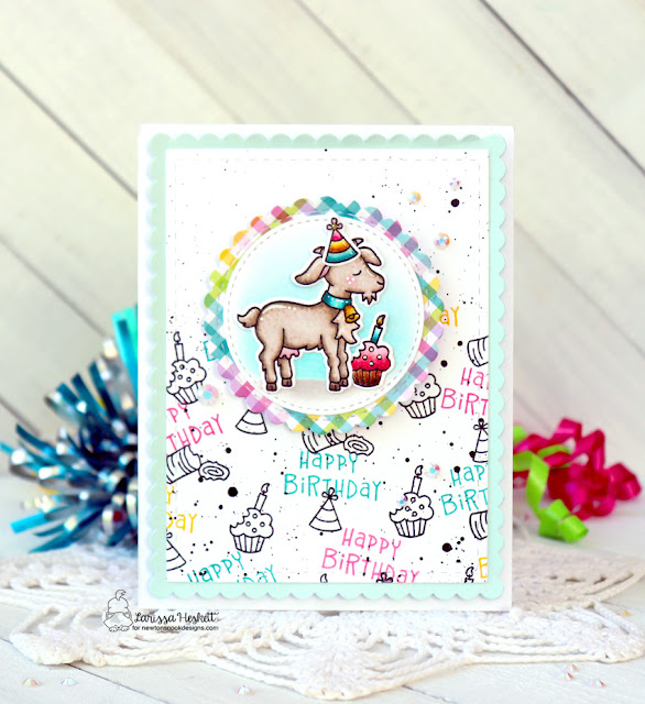 Happy Birthday Card by Larissa Heskett for Newton's Nook Designs using the Bleat Stamp Set, Bleat Die Set, Circle Frames Die Set and Frames & Flags Die Set #newtonsnook #newtonsnookdesigns #bleat #happybirthday