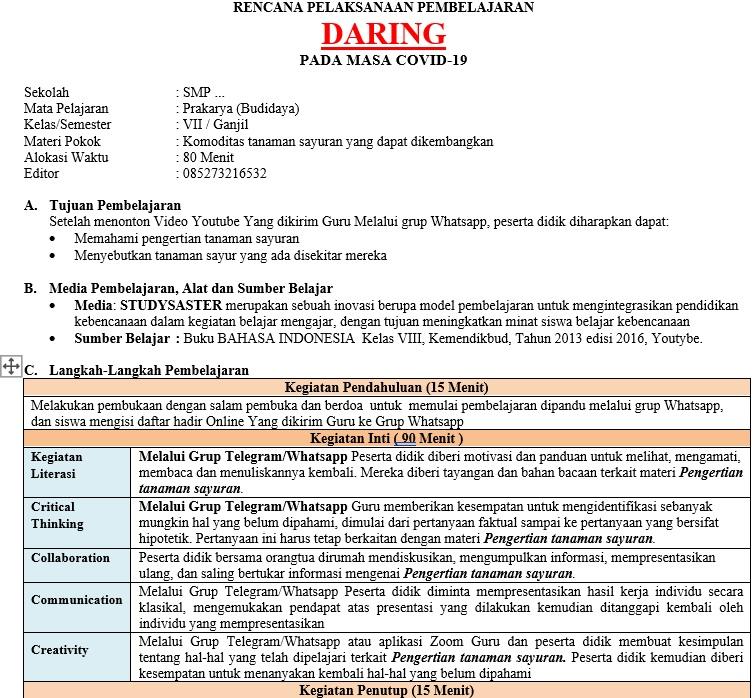 Rpp Daring Prakarya Kelas 7 Semester 1 Dan 2 Terkini Info Pendidikan Terbaru
