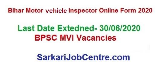 BPSC Motor Vehicle Inspector Bihar MVI Online Form 2020