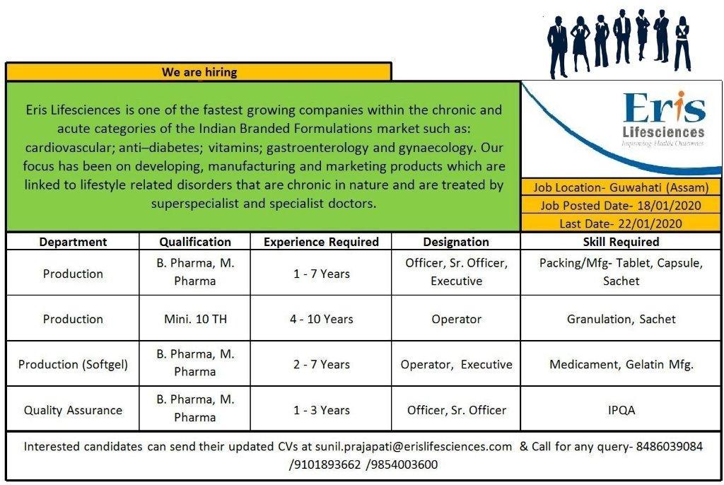 Eris Lifesciences Pvt. Ltd – Urgent Requirement in QA & Production Departments | Apply Now
