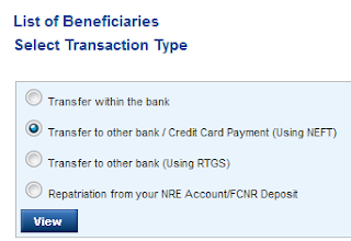 select or create beneficiary account in online banking
