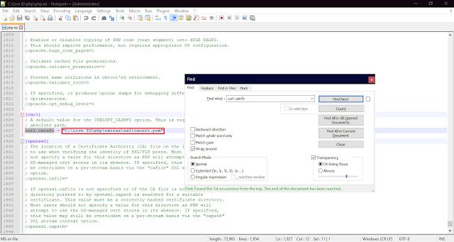 edit file php.ini