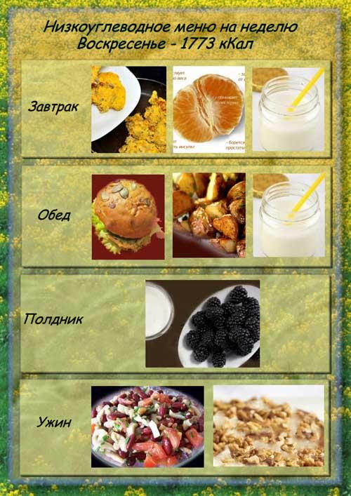 Общая калорийность за день : - 1773 кКал
