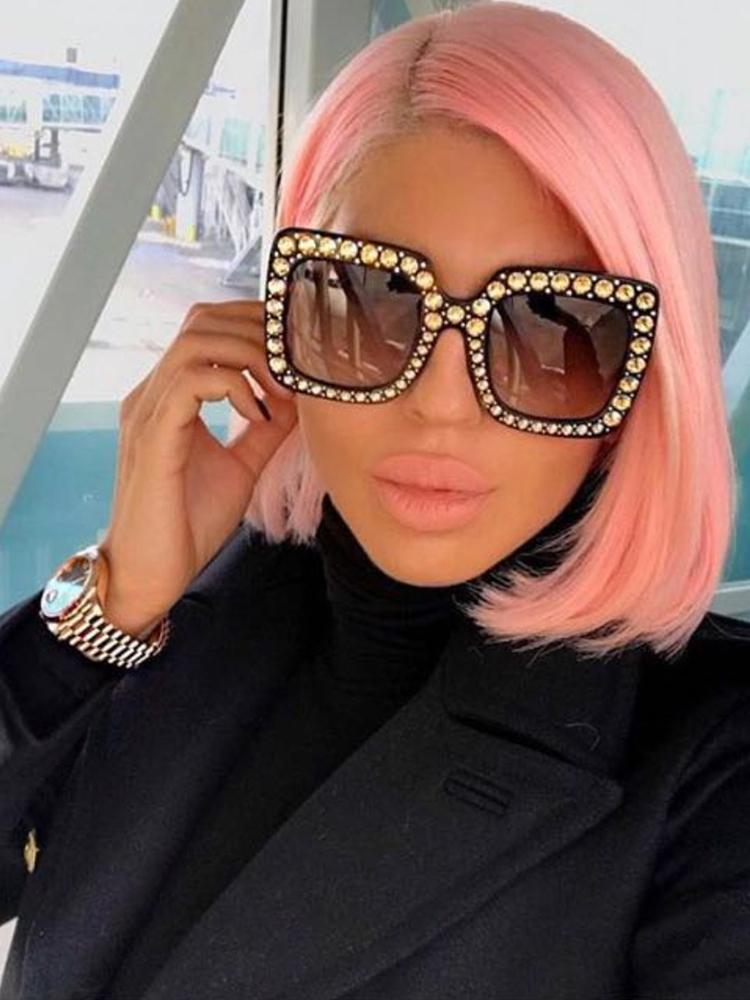 Glittering Embellished Frame Sunglasses