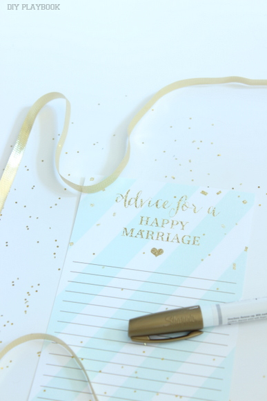 Advice for a Happy Marriage bridal shower game