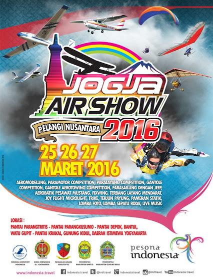 """""""Jogja Air Show Pelangi Nusantara 2016"""" Acara atraksi tanggal 25,26,27 Maret 2016. Dimeriahkan kompetisi: Aeromodelling, paramotor competition, paralayang, gantole, gantole aerotowing"""