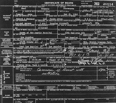 Noel Francis Death Certificate