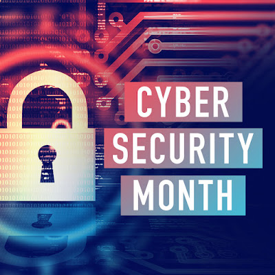 "graphic with a lock and the words ""cyber security month"" written across it"