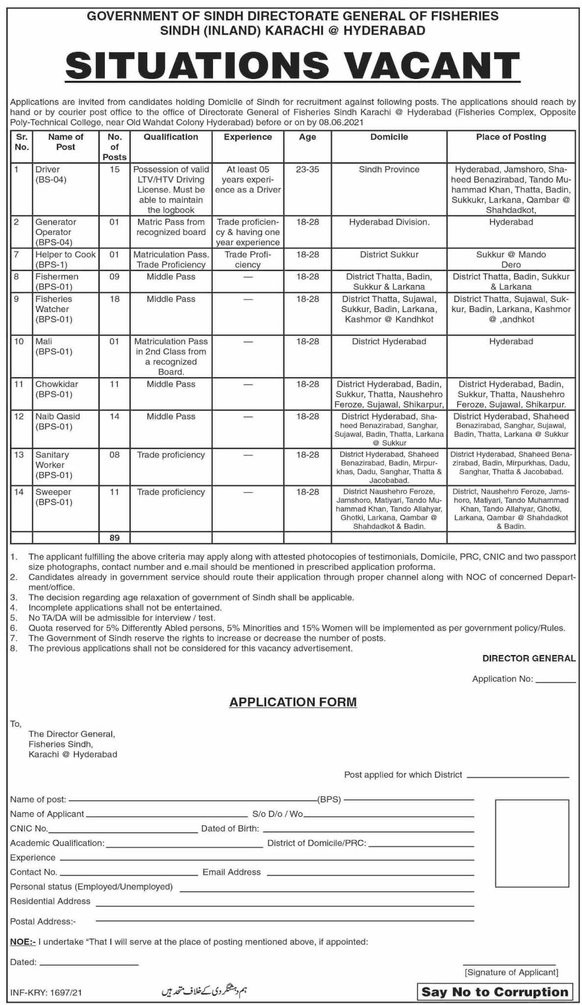 Directorate General Fisheries Sindh (Inland) Jobs 2021 in PakistanDirectorate General Fisheries Sindh (Inland) Jobs 2021 in Pakistan