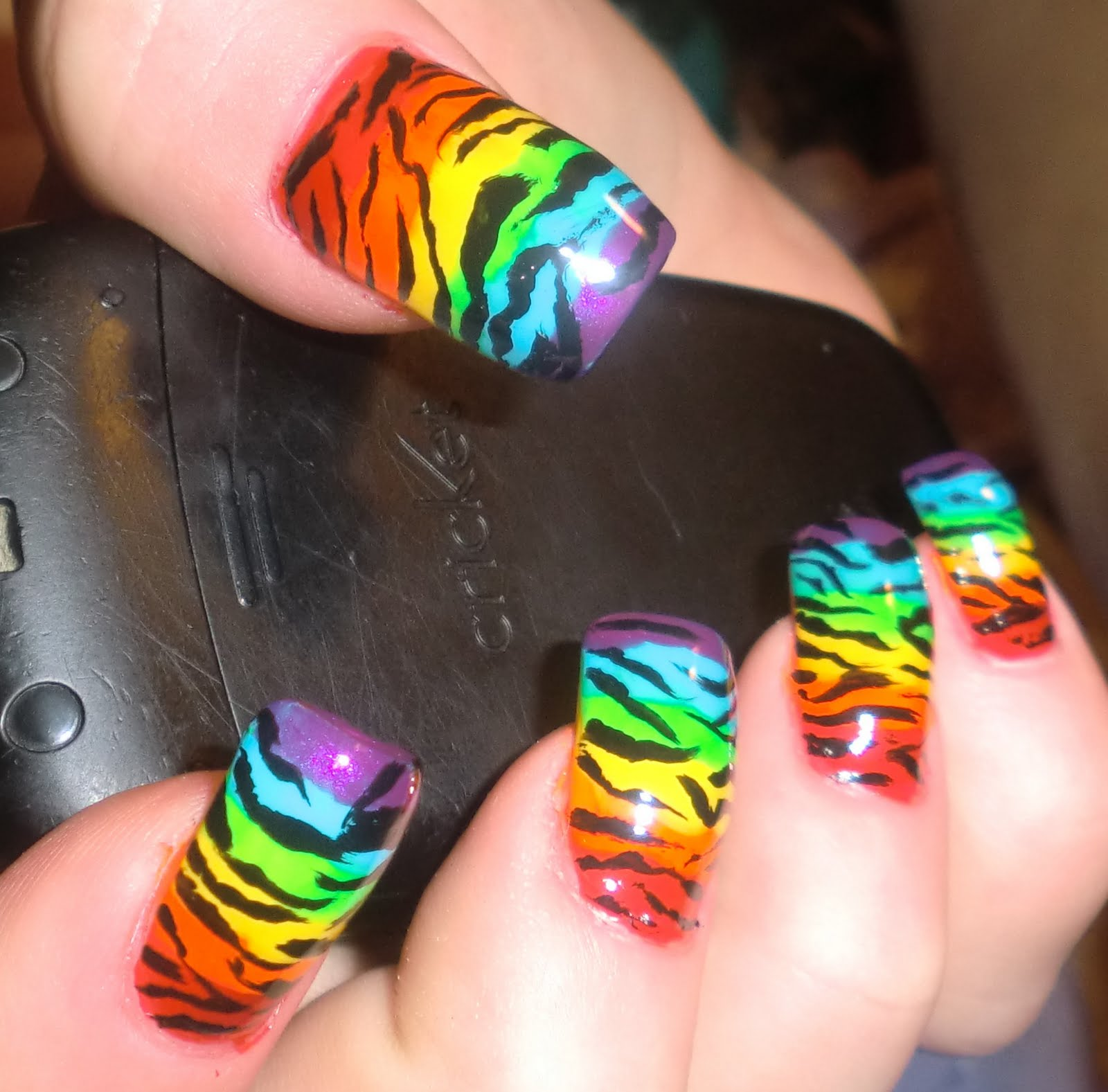Zebra Nail Ideas: Love4NailArt: Rainbow Zebra Nails