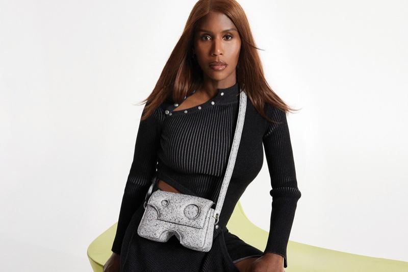 Honey Dijon poses for Off-White Burrow bag fall-winter 2021 campaign.