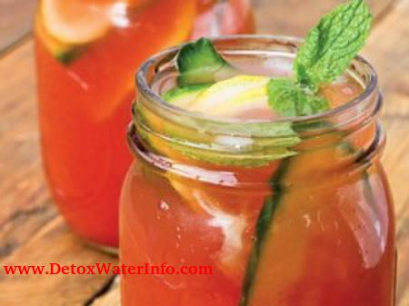 Cucumber watermelon detox water with mint and lemon