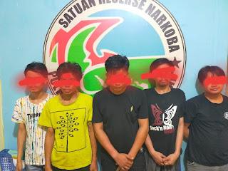 Asik Pesta Sabu, Lima Pelaku Narkoba diamankan  Polres Pelabuhan Makassar