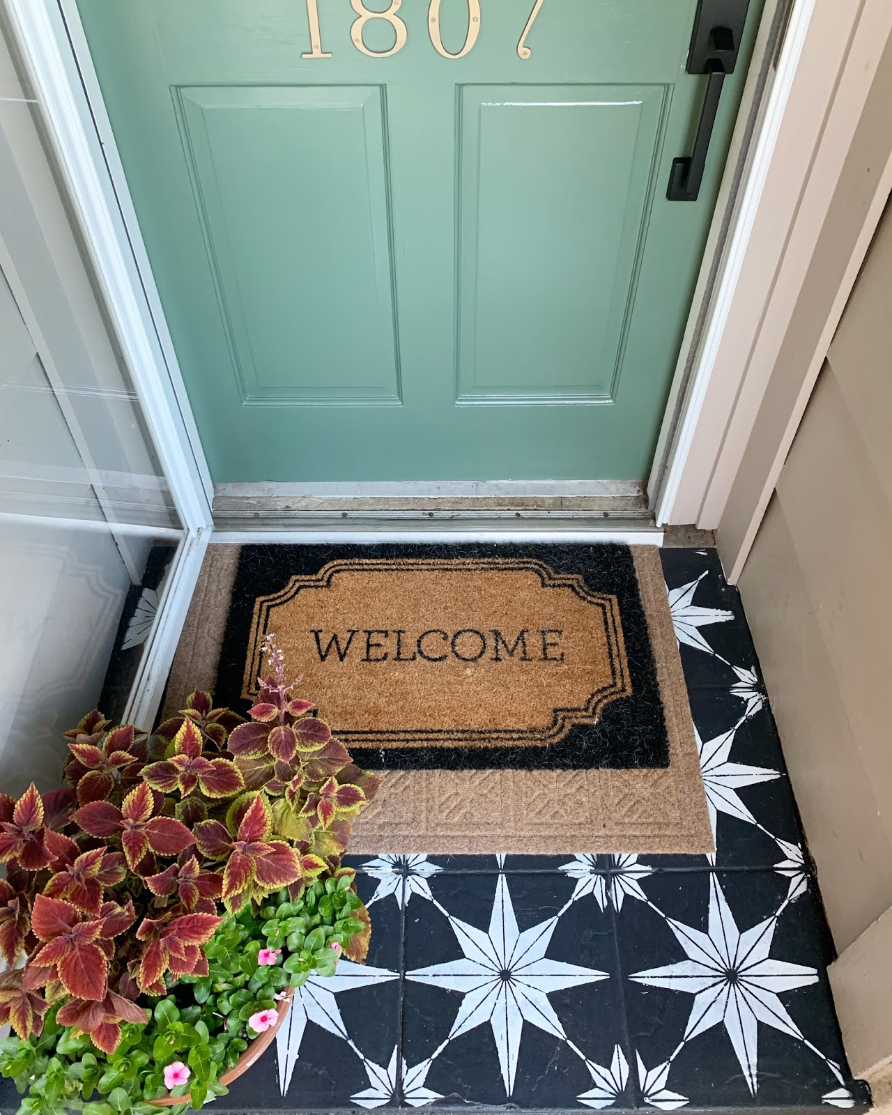 Curb Appeal Update! fresh balsam front door, schlage wifi lock and stenciled porch. | House Homemade | House Homemade