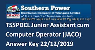 TSSPDCL Junior Assistant cum Computer Operator (JACO) Answer Key 22/12/2019