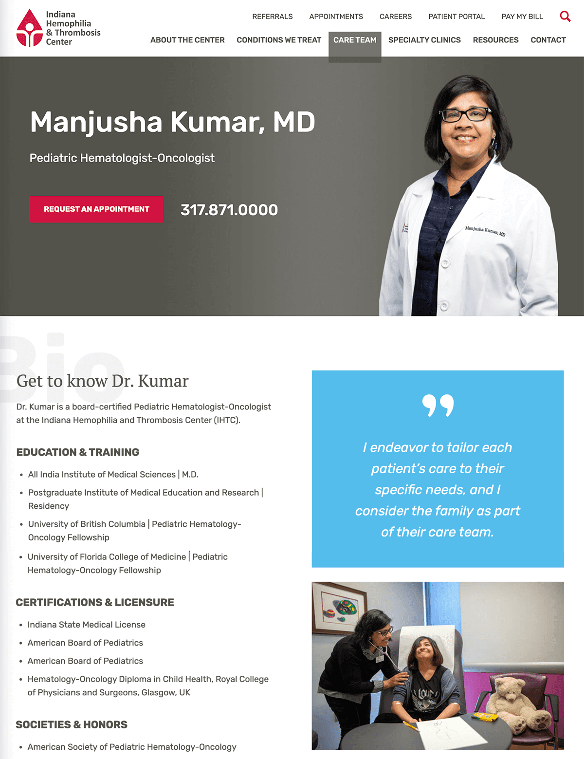 Screengrab of one of Indiana Hemophilia and Thrombosis Center's physician bio detail webpages