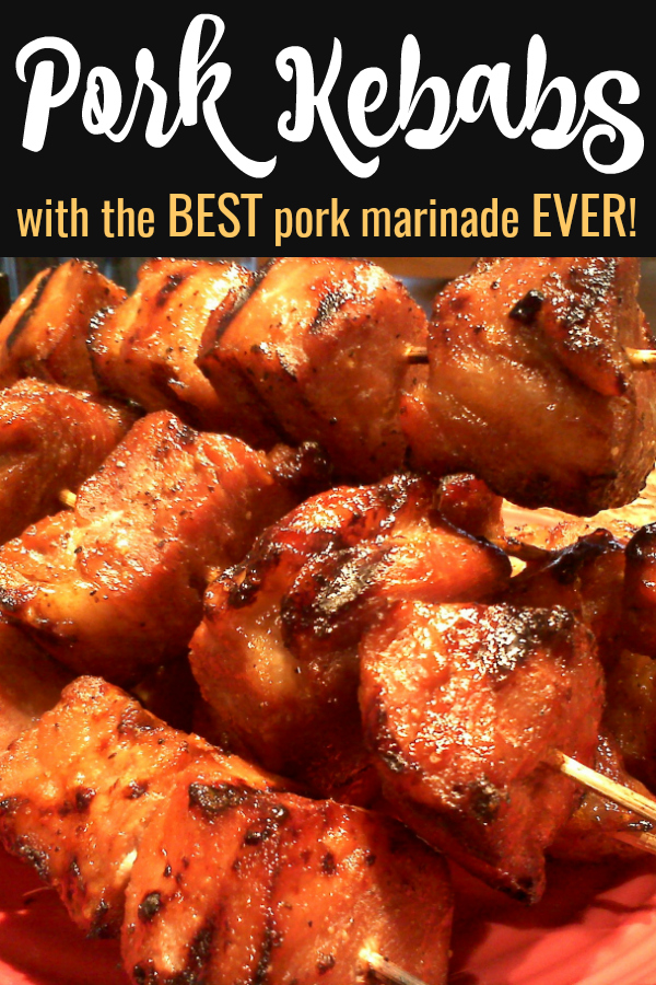 Marinated Pork Kebabs!  A pork kebab recipe made easy from juicy country ribs marinated in the BEST pork marinade made with soy sauce, honey, garlic and dijon mustard!