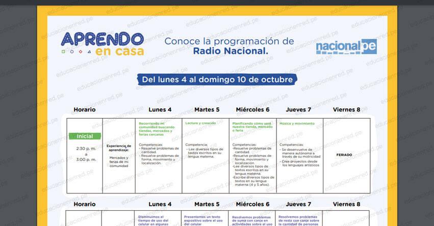 APRENDO EN CASA: Programación del Lunes 4 al Domingo 10 de Octubre - EBR, EBE y EBA - MINEDU - TV Perú y Radio (ACTUALIZADO) www.aprendoencasa.pe