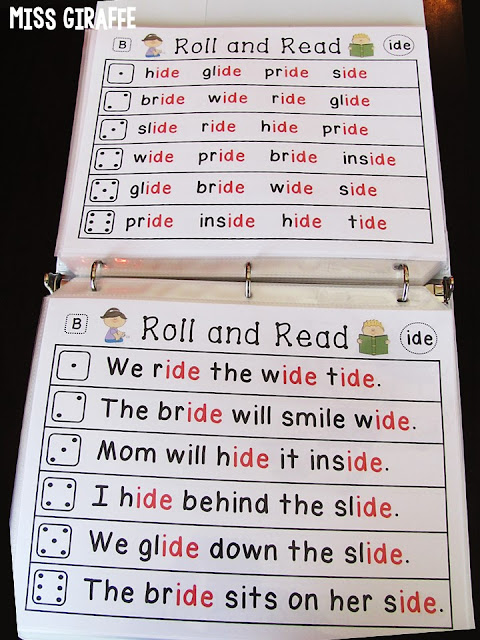 Long i word families like -ide in words and sentences for a ton of reading practice