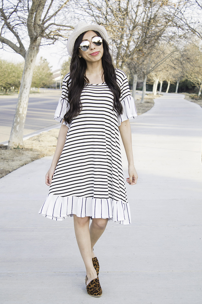 modest striped ruffle dress with hat sunglasses and leopard booties