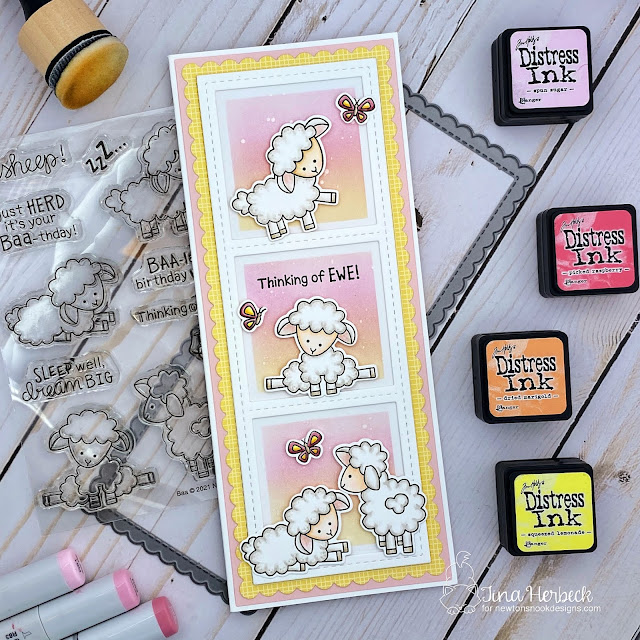 Thinking of Ewe card by Tina Herbeck | Baa Stamp Set, Slimline Masking Circles & Square Stencil Set, and Slimline Frames & Windows Die Set by Newton's Nook Designs #newtonsnook #handmade