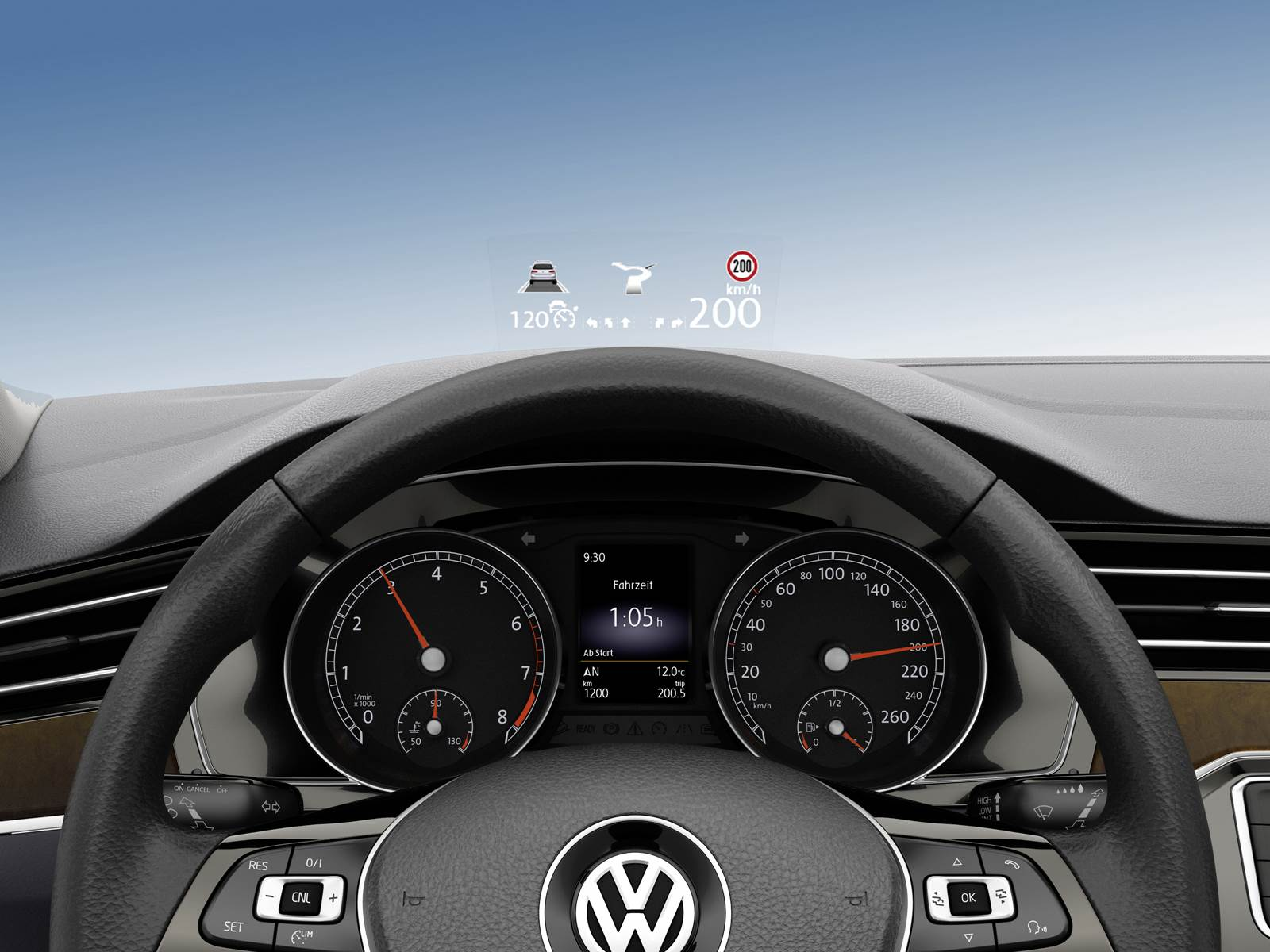 VW Golf VII 2017 - head-up display