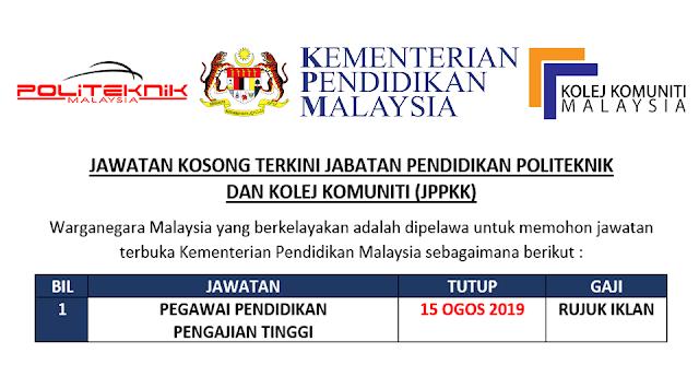 Jawatan Kosong Terbuka Di Jppkk Kementerian Pendidikan Malaysia Tutup 15 Ogos 2019 Mingguan Kerja