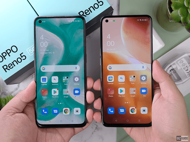 OPPO Reno5 5G and Reno5 4G screens