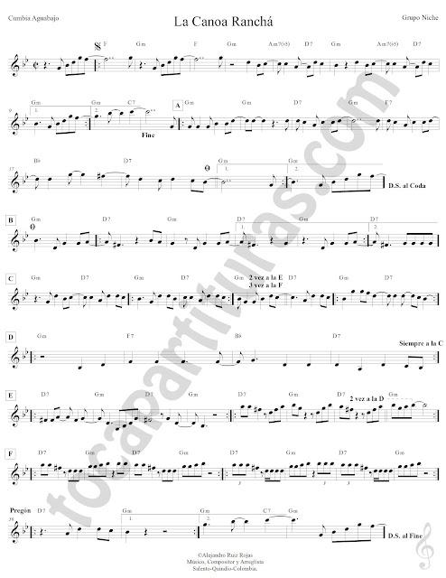 Cumbia La Canoa Ranchá del Grupo Niche Partitura Fácil con Acordes Sheet Music for Flute, Recorder, Saxophones, Trumpets, Clarinets, Horns, Violin...