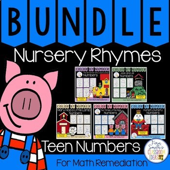 Color By Number Nursery Rhymes For Teen Numbers Color By Code Bundle #FernSmithsClassroomIdeas