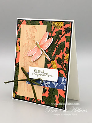 Dragonfly Garden Bundle, Calypso Coral Ink Pad, Mossy Meadow Ink Pad, Dandy Garden Designer Series Paper, Natural Thoughts Specialty Paper, Mossy Meadow Braided Linen Trim, Stampin' Up!, The Spot Challenge #158, Rick Adkins