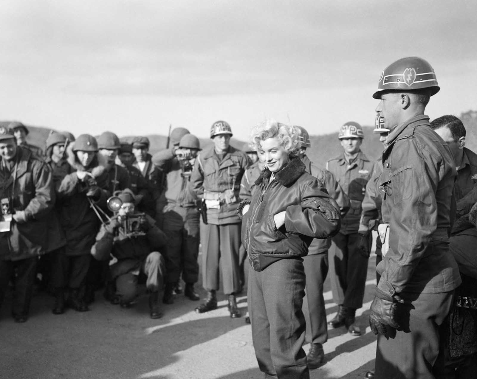 Marilyn Monroe greeting the troops.