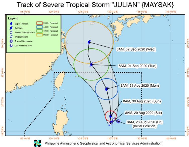 'Bagyong Julian' PAGASA weather update August 29, 2020