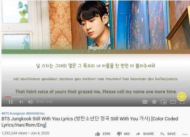 BTS Jungkook Still With You Lyrics -downlaod mp3