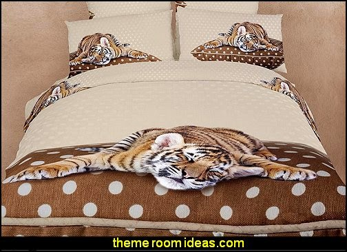 Dolce Mela Sleepy Tiger Duvet Cover Set  wild animal print bedroom decor  - leopard print decorating ideas- giraffe print - zebra print - cheetah bedroom decor - wild animal print decorating  - leopard print decor - leopard print walls -  tiger wall decal
