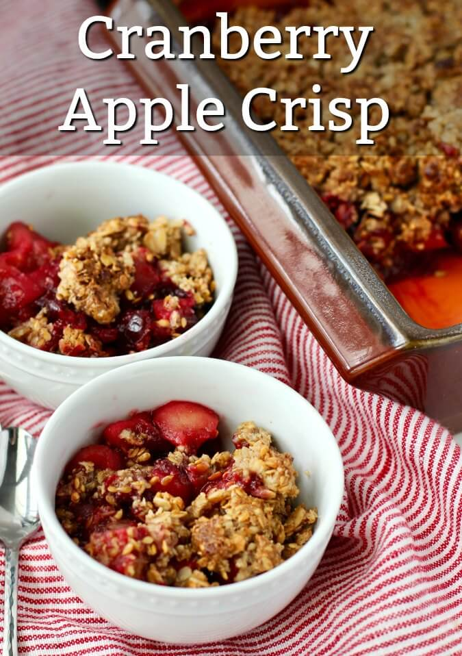 Cranberry Apple Crisp in bowls and the pan