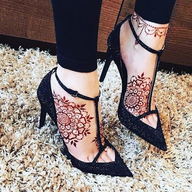 Mehndi Designs for Legs | Simple Foot Henna Design