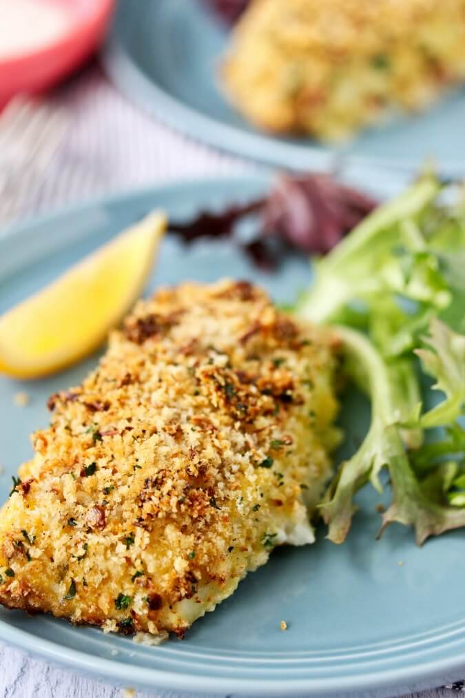 Air fried cod filets coated in panko on a plate
