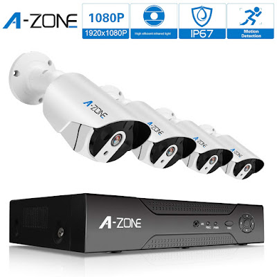 A-Zone Security 4 Channel 1920P NVR HD 1080P IP PoE Security Camera System with 4 Outdoor/Indoor 3.6mm Fixed Lens 2.0 Megapixel 1080P Cameras, QR Code Easy Setup, Free Remote View- 1TB Hard Drive