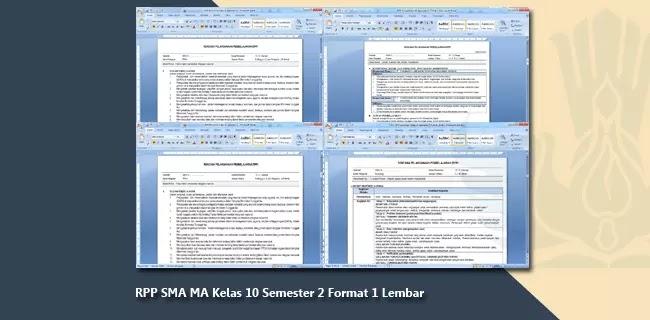 RPP SMA MA Kelas X (10) Semester 2 Format 1 Lembar