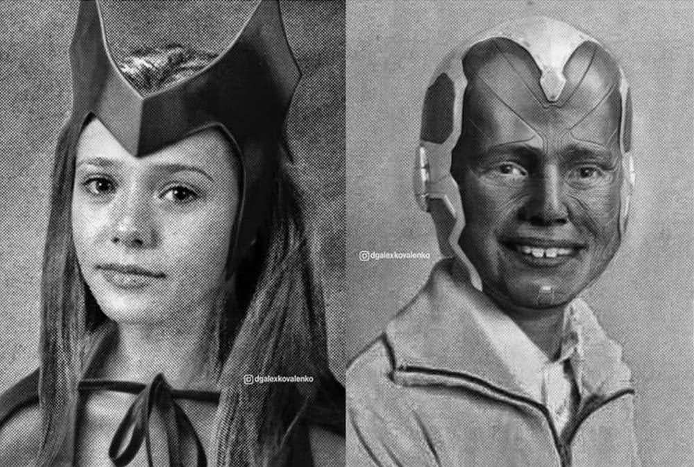Young Avengers : アベンジャーズの初代メンバーたちの懐かしい写真を使って、ヤング・アベンジャーズに若返らせてみた卒業アルバム ! !