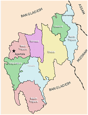 Map showing Districts of Tripura