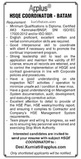 Lowongan Kerja HSQE Coordinator - Batam