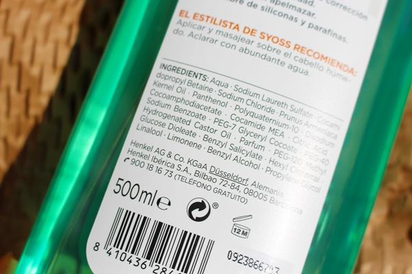 champu sin siliconas Mercadona Syoss INCI ingredientes