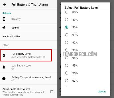 cara membuat alarm pengingat saat baterai hp penuh ketika dicas