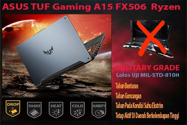 ASUS TUF Game A15FX506 Ryzen Military Grade