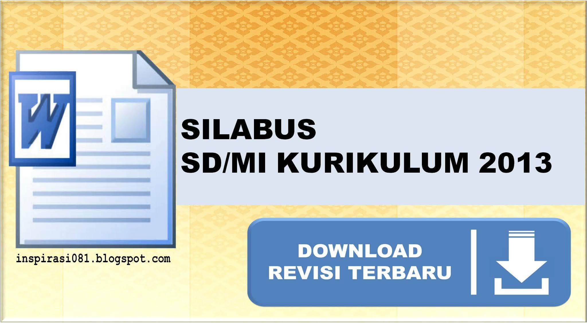Contoh Silabus K13 SD kelas 1, 2, 3, 4, 5, 6 Edisi Revisi