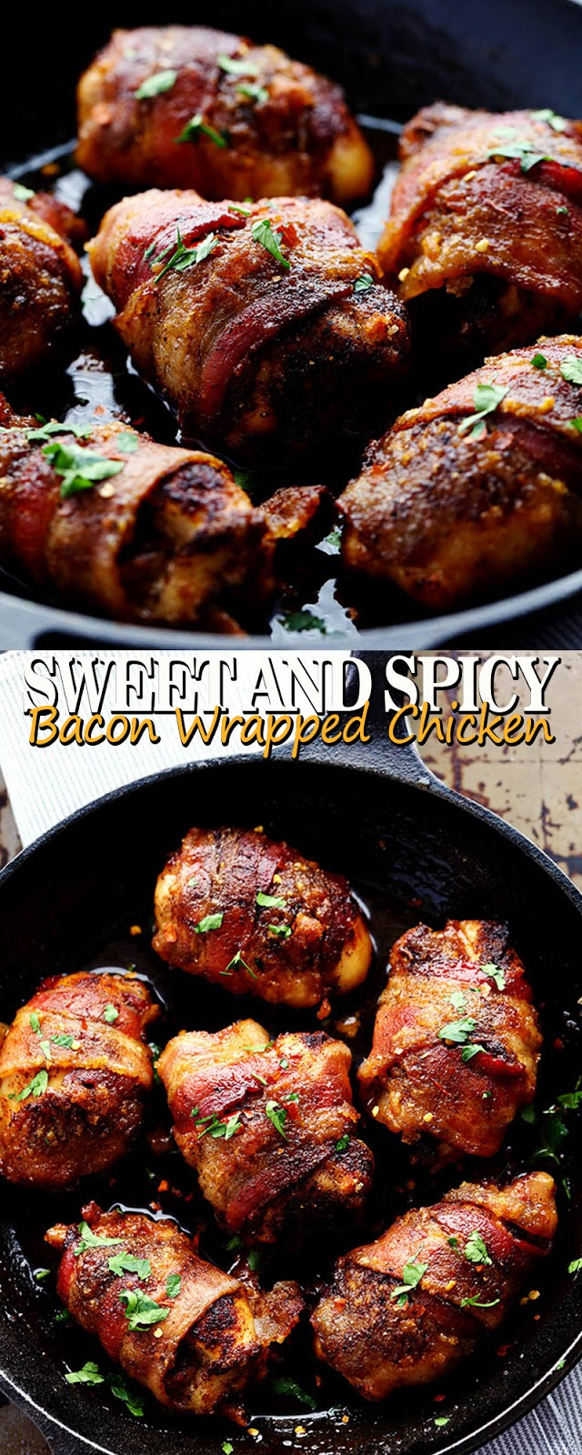 SWEET AND SPICY BACON WRAPPED CHICKEN